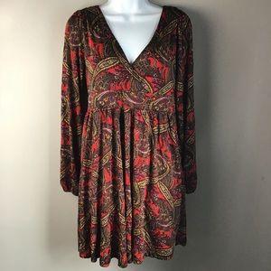 H&M paisley v neck faux wrap tunic dress, empire